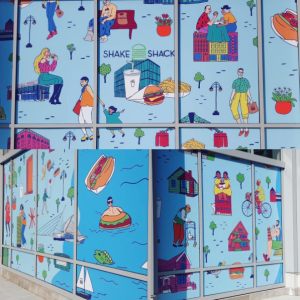 Window hoarding graphic for Shake Shack's Milwaukee location, featuring Milwaukee locals eating lunch throughout the city