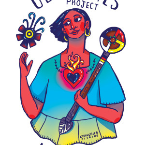 Illustration for the Ollin Girls Project Fellowship run by the non-profit Noxtin, who transforms youth justice programs by building relationships and growth through cultural identity and history with young Latina women.